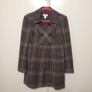 Anne Taylor Loft plaid wool blend jacket